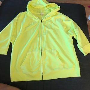 Soft cotton neon yellow short sleeve hoodie
